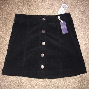 Black Button up corduroy skirt